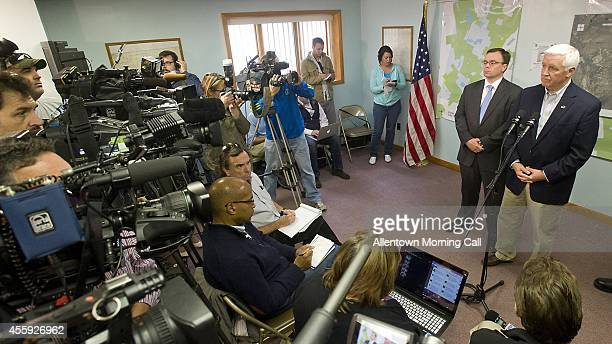 Pennsylvania Governor Tom Corbett briefs the media along with Pike County District Attorney Ray Tonkin left on the status of the manhunt for accused...