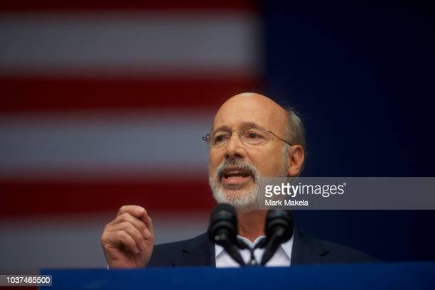 Pennsylvania Governor Tom Wolf addresses supporters before former President Barack Obama speaks during a campaign rally for statewide Democratic...