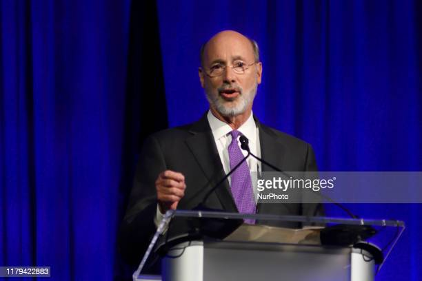 Pennsylvania Governor Tom Wolf speaks during the Inaugural Independence Dinner, hosted by Pennsylvania Democratic Party, at the Pennsylvania...