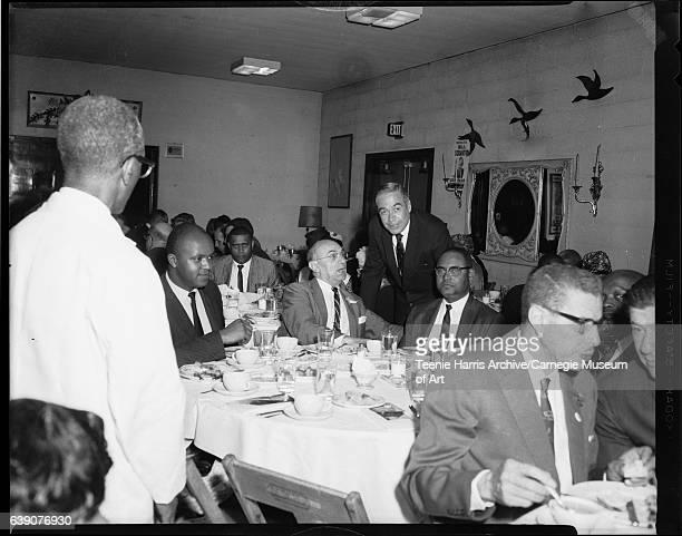 Pennsylvania gubernatorial candidate William 'Bill' Scranton with Ambrose Lane Maurice Goldstein Dr Brady O Hopper and William Johnson in background...