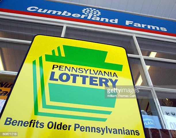 Pennsylvania Lottery sign rests outside Cumberland Farms convenience store May 10, 2004 in Washington Crossing, Pennsylvania. The winner of the May...