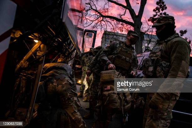 Pennsylvania National Guard troops arrive at the U.S. Capitol grounds for their guard rotation on the morning of January 17, 2021 in Washington, DC....