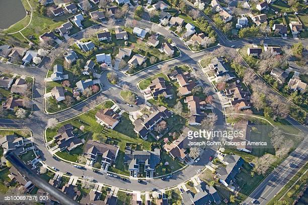 USA, Pennsylvania, New Jersey, aerial view of upper middle class homes