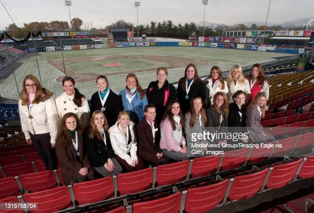 Pennsylvania Outstanding Young Woman contestants at FirstEnergy Stadium home of the Reading Phillies.FRONT ROW: Alexis Nedurian, Lycoming; Miranda...