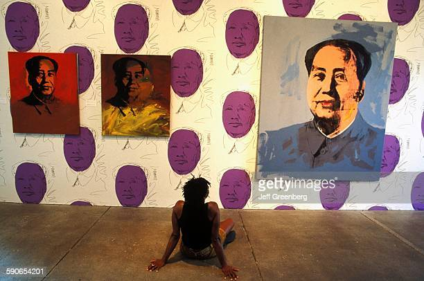 Pennsylvania Pittsburgh Room Of The Andy Warhol Museum Paintings Hanging Woman Sitting On Ground