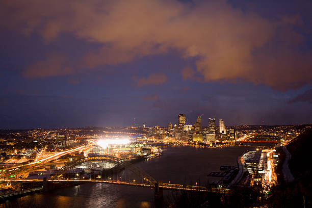 USA, Pennsylvania, Pittsburgh skyline, dusk, elevated view
