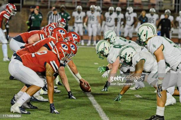 Pennsylvania Quakers face off with Dartmouth Big Green during the game between the Penn Quakers and the Dartmouth Big Green on October 4 2019 at...
