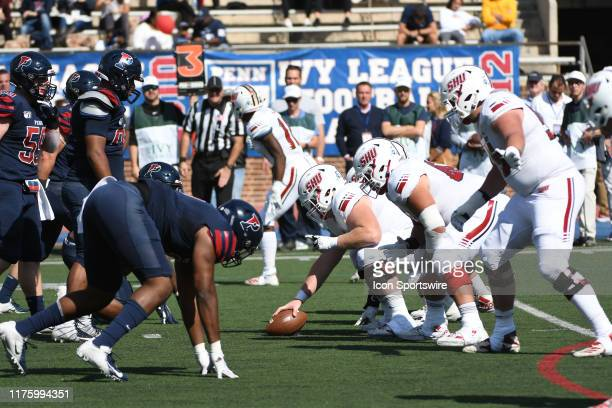 Pennsylvania Quakers face off with the Sacred Heart Pioneers during the game between the Sacred Heart Pioneers and the Penn Quakers on October 12...