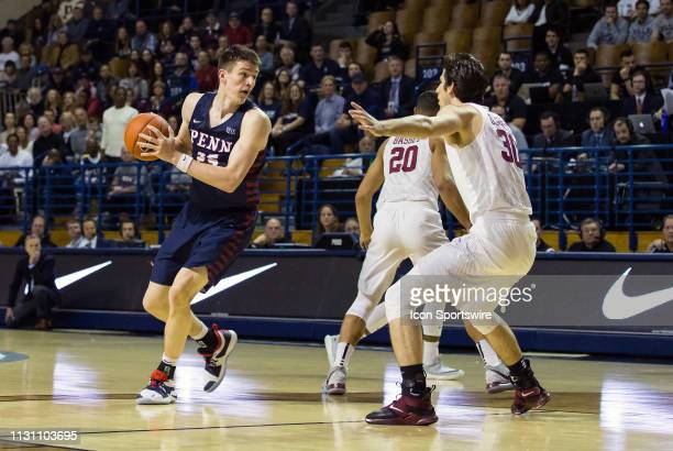 Pennsylvania Quakers forward AJ Brodeur in action during a college basketball game between Penn Quakers and Harvard Crimson on March 16 at John J Lee...