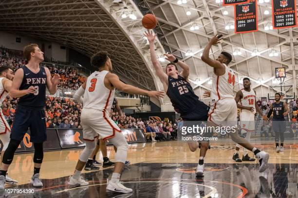 Pennsylvania Quakers forward AJ Brodeur takes an off balanced shot during the second half of the college basketball game between the Penn Quakers and...