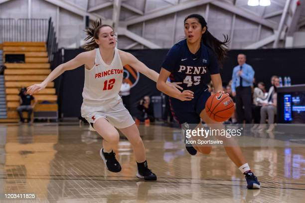 Pennsylvania Quakers forward Kayla Padilla drives to the basket during the first half of the Ivy League college basketball game between the Penn...