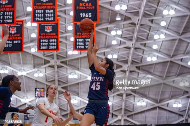 Pennsylvania Quakers forward Kayla Padilla shoots the ball during the Ivy League college basketball game between the Penn Quakers and Princeton...