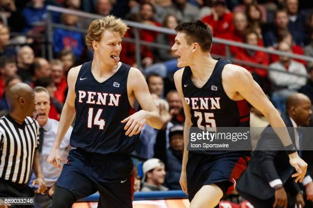 Pennsylvania Quakers forward Sam Jones celebrates with Pennsylvania Quakers forward AJ Brodeur after making a three point shot during the second half...
