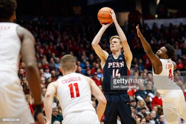 Pennsylvania Quakers forward Sam Jones puts up a three point shot during the first half of a game between the Dayton Flyers and the Pennsylvania...
