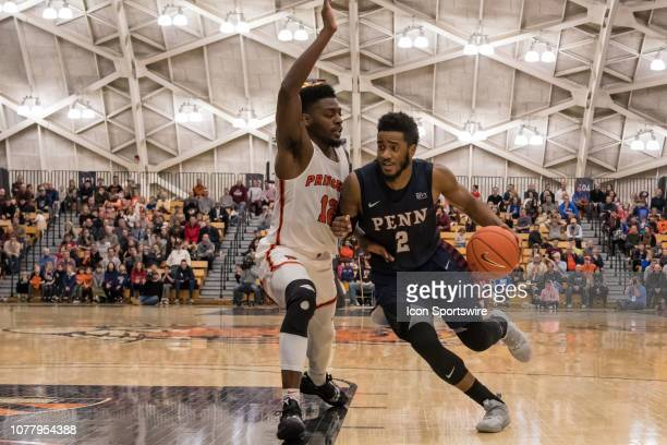 Pennsylvania Quakers guard Antonio Woods drives to the basket during the second half of the college basketball game between the Penn Quakers and...