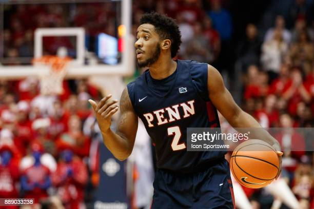 Pennsylvania Quakers guard Antonio Woods sets a play during the first half of a game between the Dayton Flyers and the Pennsylvania Quakers on...