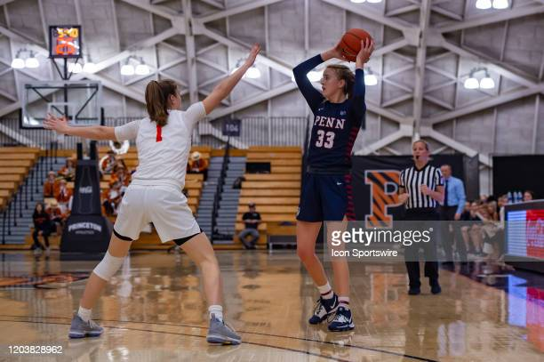 Pennsylvania Quakers guard Phoebe Sterba looks to pass the ball during the Ivy League college basketball game between the Penn Quakers and Princeton...