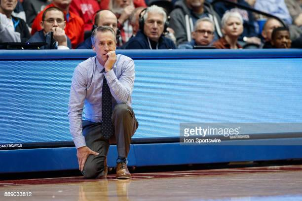 Pennsylvania Quakers head coach Steve Donahue looks on during the second half of a game between the Dayton Flyers and the Pennsylvania Quakers on...