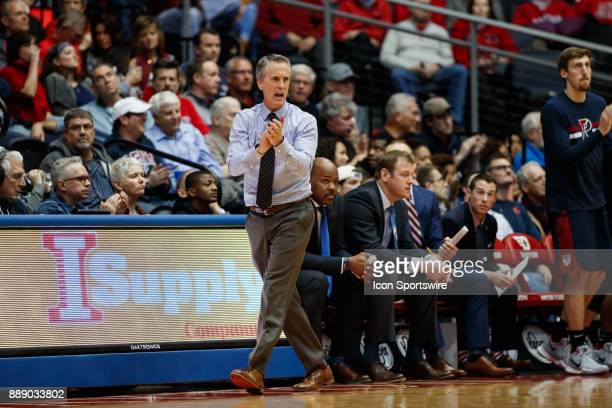 Pennsylvania Quakers head coach Steve Donahue reacts during the second half of a game between the Dayton Flyers and the Pennsylvania Quakers on...
