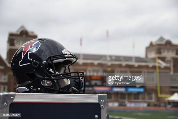 Pennsylvania Quakers helmet sits on a cart during the game between the Bucknell Bison and the Penn Quakers on September 15 2018 at Franklin Field in...