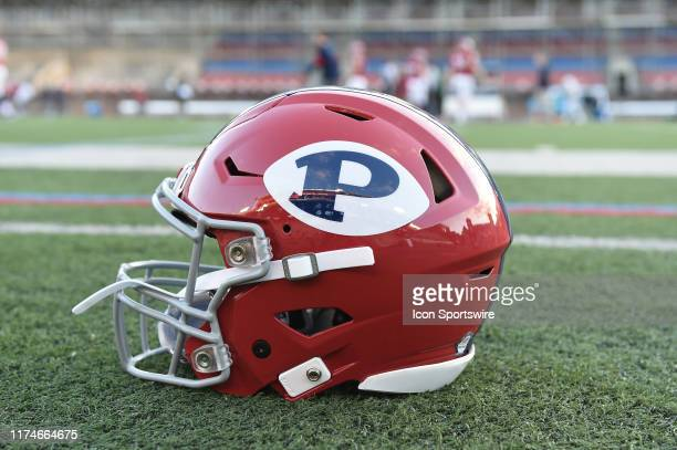 Pennsylvania Quakers helmet sits on the field during the game between the Penn Quakers and the Dartmouth Big Green on October 4 2019 at Franklin...