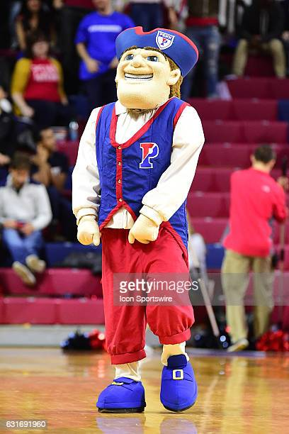 Pennsylvania Quakers mascot performs during a NCAA basketball game between the Yale Bulldogs and the Penn Quakers on January 13 at the Palestra in...