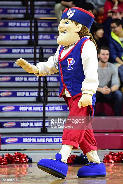 Pennsylvania Quakers mascot waves to the crowd during a NCAA basketball game between the Yale Bulldogs and the Penn Quakers on January 13 at the...