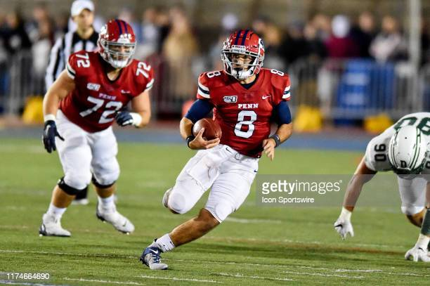 Pennsylvania Quakers quarterback Nick Robinson runs the ball during the game between the Penn Quakers and the Dartmouth Big Green on October 4, 2019...