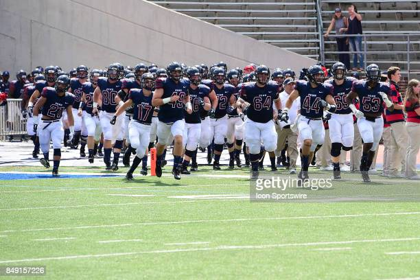 Pennsylvania Quakers take the field during a college football game between the Penn Quakers and the Ohio Dominican Panthers on September 16 2017 at...