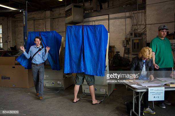 Pennsylvania residents cast their primary day ballots on April 26 2016 in Philadelphia Pennsylvania Primary voting is taking place today in...