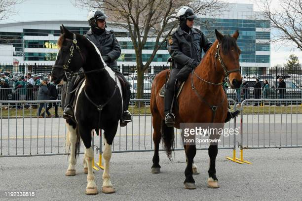 Pennsylvania State mounted Troopers look on during the Playoff game between the Seattle Seahawks and the Philadelphia Eagles on January 5 at Lincoln...