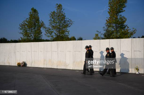 Pennsylvania State Police Honor Guard was along the Wall of Names at the Flight 93 National Memorial on September 11 2019 in Shanksville Pennsylvania...
