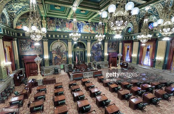 pennsylvania state senate chamber interior - harrisburg pennsylvania stock pictures, royalty-free photos & images