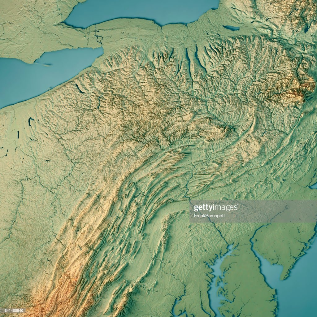 Pennsylvania State USA 3D Render Topographic Map : Stock Photo