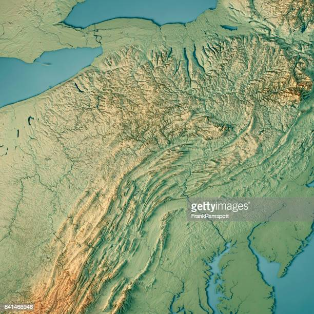 Pennsylvania State USA 3D Render Topographic Map