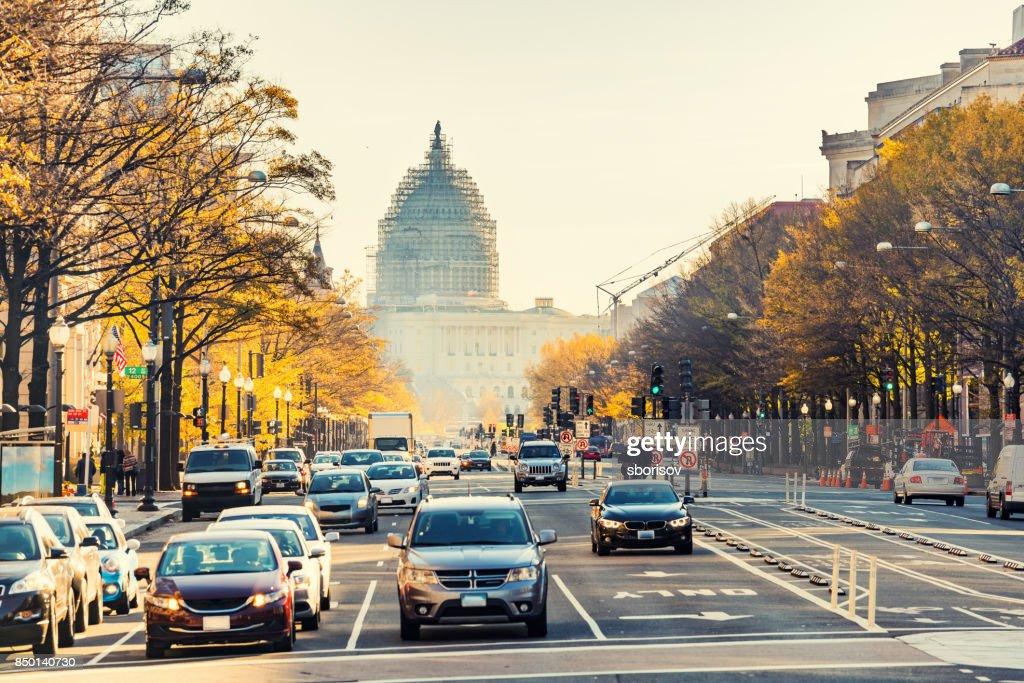 Pennsylvania street in Washington DC : Stock Photo
