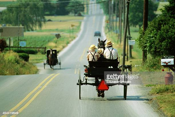 Pennsylvania Two Amish Buggies Passing Each Other