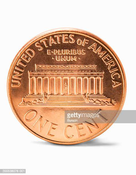 us penny, against white background, close-up - us penny stock pictures, royalty-free photos & images
