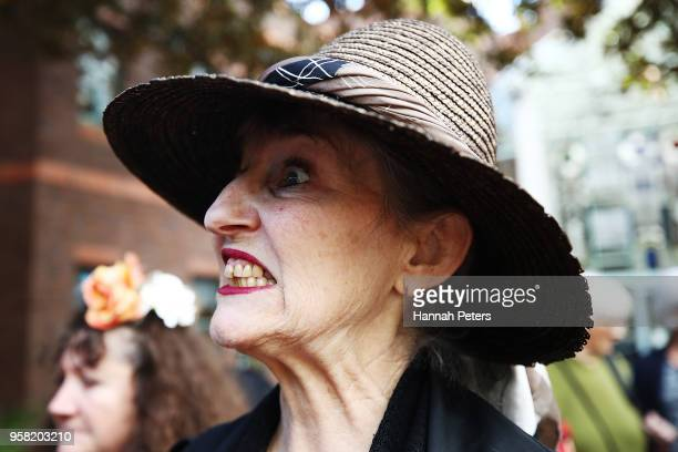 Penny Bright talks to media after appearing at Auckland High Court on May 14 2018 in Auckland New Zealand Bright has an injunction in place...