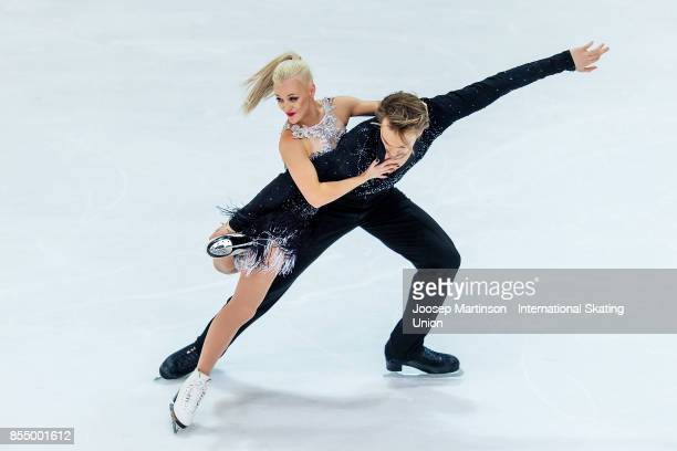Penny Coomes and Nicholas Buckland of Great Britain compete in the Ice Dance Short Dance during the Nebelhorn Trophy 2017 at Eissportzentrum on...