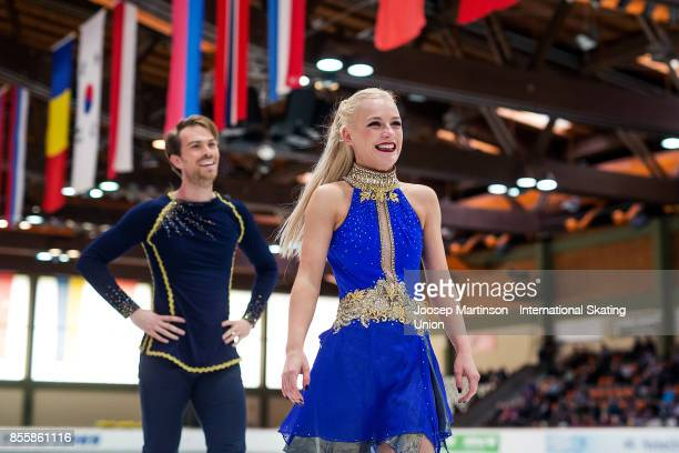 Penny Coomes and Nicholas Buckland of Great Britain react in the Ice Dance Free Dance during the Nebelhorn Trophy 2017 at Eissportzentrum on...