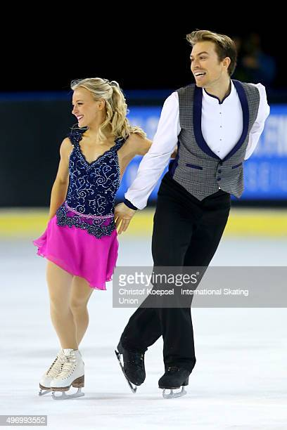 Penny Coomes and Nicholas Buckland of Great Britain skate during the ice dance short dance of the ISU Grand Prix at Meriadeck Ice Rink on November 13...