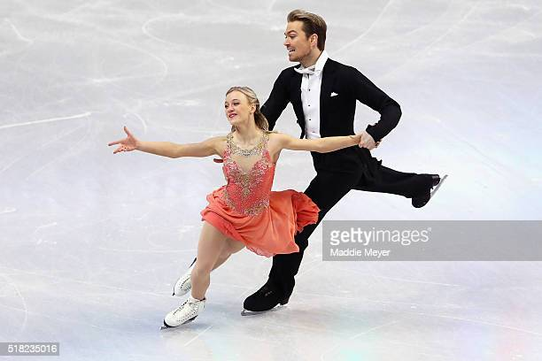 Penny Coomes and Nicholas Buckland of Great Britain skate in the Ice Dance Short program during day 3 of the ISU World Figure Skating Championships...