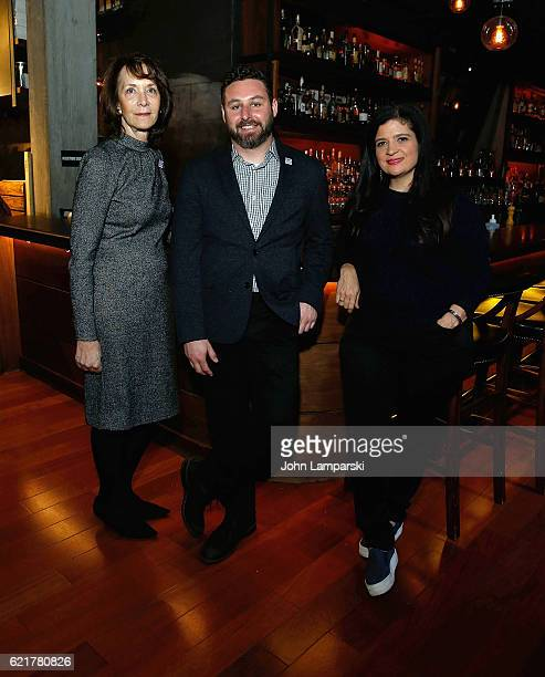 Penny Glazier Sam Holmes and Chef Alex Guarnaschelli attend 3rd annual 'Dine Out for Heroes' at Butter on November 8 2016 in New York City