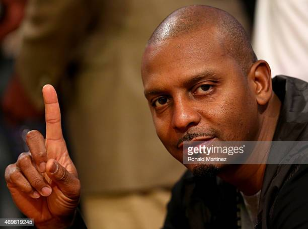 Penny Hardaway attends the Sears Shooting Stars Competition 2014 as part of the 2014 NBA AllStar Weekend at the Smoothie King Center on February 15...