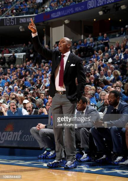 Penny Hardaway head coach of the Memphis Tigers points from the sideline against the UCF Knights on January 27 2019 at FedExForum in Memphis...