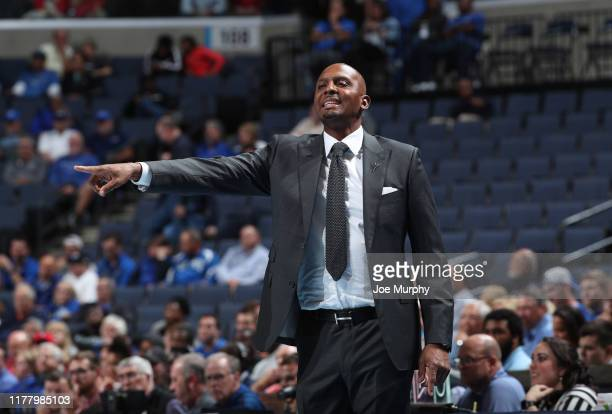 Penny Hardaway head coach of the Memphis Tigers points from the sideline against the Christian Brothers Buccaneers during an exhibition game on...