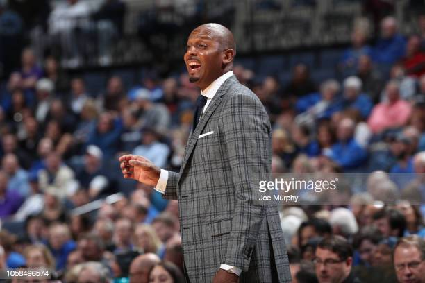 Penny Hardaway head coach of the Memphis Tigers reacts from the sideline against the Tennessee Tech Golden Eagles on November 6 2018 at FedExForum in...