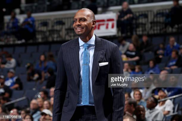 Penny Hardaway, head coach of the Memphis Tigers smiles from the sideline against the New Orleans Privateers during a game on December 28, 2019 at...