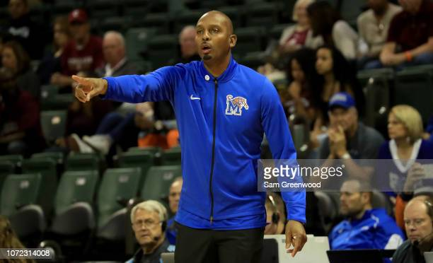Penny Hardaway head coach of the Memphis Tigers watches the action during the game against the Charleston Cougars at HP Field House on November 25...